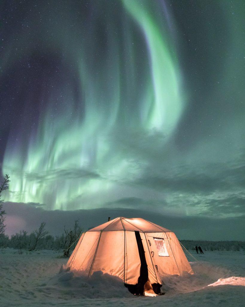 Tält vid Norrsken i Abisko